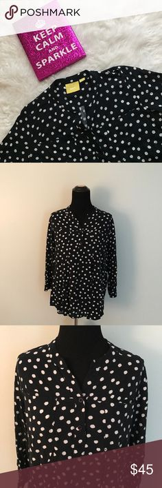 {Anthropologie} Maeve Black & White Polka Dot Top This beautiful blouse is from Maeve by Anthropologie. Black fabric with fun white polka dots. Has breast pockets. Blouse buttons up halfway. No noticeable flaws. Size medium.   🌸MEASUREMENTS & MATERIAL: 🌸 Bust: 19 inches across 🌸 Sleeve length: 17 inches 🌸 Shirt length: 24 inches 🌸 100% rayon 🌸Feel free to ask for a specific measurement! Anthropologie Tops Blouses