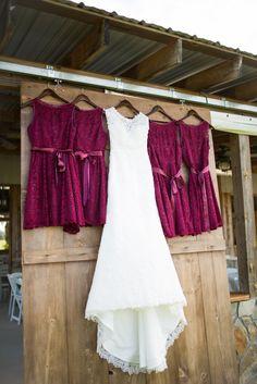 Burgundy Lace Bridesmaid Dresses  |  Autumn Wedding with Sunflowers and Burgundy Details | Trés Belle