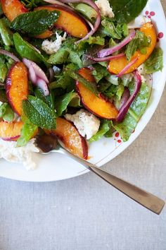 nectarine burrata salad  Five and Spice Bon Appetit