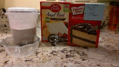 3-2-1 easy healthy cake single serving! From my grandma: 3 points weight watchers dessert. One box angel food cake mix, one box (non-pudding) cake mix, mix together (i store in air tight container so can be made quickly), 3-2-1. 3 leveled tablespoons mix, 2 tablespoon water mix together and whip with spoon or fork. Microwave 1 min. Works best with small bowl to hold in heat. Can be done with any flavor cake mix. Whip cream or fruit can be placed over after done.