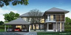 Modern Style 2 Story Home Plans for construction in thai, Living area 505 sq.m, 4 Bedrooms 6 bathrooms Width 22 m, Depth ~ Modern Tropical House Plans & Contemporary Tropical, Modern Style in Thailand Modern Tropical House, Tropical House Design, Tropical Houses, Tropical Style, Home Modern, Modern House Plans, Modern House Design, Interior Modern, 6 Bedroom House Plans