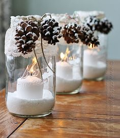 Crafter Amanda Formaro recommends lining the pathway to your front door with these elegant lace-and-pinecone candles. Get the tutorial at Crafts by Amanda.  RELATED: 17 Holiday Pinecone Crafts   - CountryLiving.com