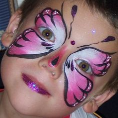 pink white black butterfly face paint