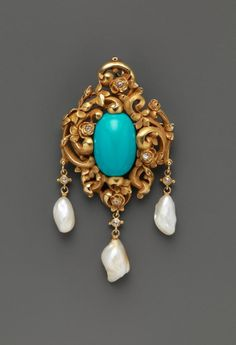 Brooch.  Attributed to F. Walter Lawrence (American, Baltimore, Maryland 1864–1929 Summit, New Jersey). Date: ca. 1905.  Medium: Gold, turquoise, diamonds and pearls.