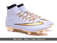 4e0775d77c2 White Gold Nike Mercurial Superfly CR7 FG Gold Studs cleats Cheap Soccer  Shoes