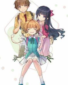 Sakura, Tomoyo Kero-chan and Syaoran Cardcaptor Sakura Clear Card, Sakura Card Captors, Sakura Kinomoto, Syaoran, Manga Anime, Anime Art, Arte Sailor Moon, Estilo Anime, Magic Cards