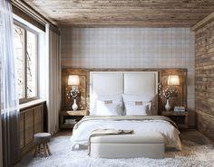 chambre adulte avec un grand lit mur et plafond en bois