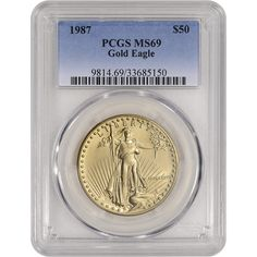 1987 American Gold Eagle Coin (1 ounce oz) $50 - Certified PCGS MS69