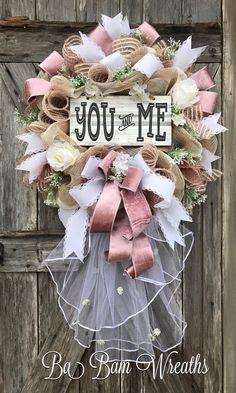 Wedding Wreath, Wedding Decor, Bridal Gift, Ba Bam Wreaths