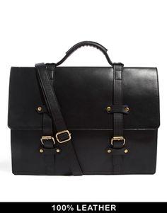 Image 1 ofASOS Double Strap Leather Satchel