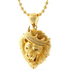 King Ice - Roaring Lion Head w/ CZs Necklace (Gold Plated) - Hip Hop Collection Gold Plated Necklace, Gold Necklace, Pendant Necklace, Necklace Chain, Pendant Jewelry, Jewelry Necklaces, Crystal Necklace, Mens Gold Bracelets, Lion Necklace