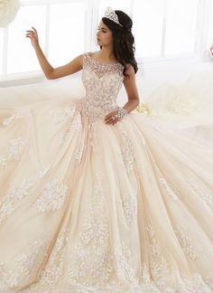 Beaded Floral Lace Quinceanera Dress by House of Wu 26895-House of Wu-ABC Fashion