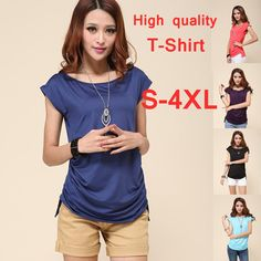 2013 fashion loose shirt plus size women short sleeve shirt clothing western shirts tops for women's chiffon blue brand xxxl-in T-Shirts from Apparel & Accessories on Aliexpress.com