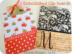 Fancy Frugal Life: Embellished Clip Boards (Teacher Gifts) (or to make school pretty) Teacher Christmas Gifts, Homemade Christmas Gifts, Homemade Gifts, Christmas Crafts, Cute Diys, Cute Crafts, Teacher Appreciation Gifts, Teacher Gifts, Teacher Stuff