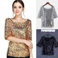 4e865efabb2 Bust plus size fat size paillette slim half sleeve top shirt blingbling  club fashion women lady tee shirt