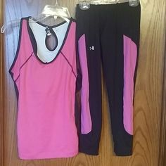 GYM OUTFIT SET (TOP / ATHLETIC BOTTOM) PINK & BLACK COLOR COMBINATION TOP SIZE IS JW ACTIVE SIZE SMALL - BODY IS 88 % POLYESTER  12 % SPANDEX ; WITH LINING 94 % POLYESTER 6 % SPANDEX. GREAT CONDITION! BOTTOM IS XS UNDER ARMOUR ALL SEASON GEAR. HAS A SMALL ZIP POCKET TO FIT AN ID CARD SIZE. GREAT CONDITION!  PERFECT FOR YOU OR AS A GIFT TO YOUR LOVE. UNDER ARMOUR. / JW ACTIVE Other