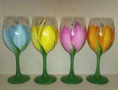 Ombre Dot Wine Glasses (Set of -- Weddings, Bridal Showers, Bachelorette, Birthdays Tulip Wine Glasses, Diy Wine Glasses, Decorated Wine Glasses, Hand Painted Wine Glasses, Bottle Painting, Bottle Art, Pebeo Porcelaine 150, Wine Glass Designs, Glass Painting Designs