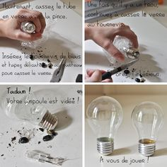 "Graduation: ""Bright Future"" theme Light bulb how to prepare it for stuffing Light Bulb Art, Light Bulb Crafts, Home Crafts, Diy And Crafts, Origami Lights, Recycled Light Bulbs, Ideas Hogar, Creation Deco, Tips & Tricks"