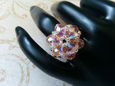 The Lily- Vintage Rose Swarovski Crystal and Smoked Topaz Swarovski Crystal Flower Stretch Ring