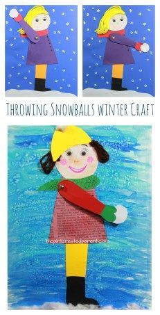 Throwing snowballs craft or mixed media art with free printable template. Winter arts and crafts for kids. Snow crafts