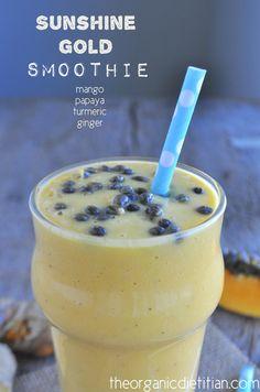 Sunshine Gold Smoothie, ginger, turmeric, papaya, mango, vegan, paleo - The Organic Dietitian