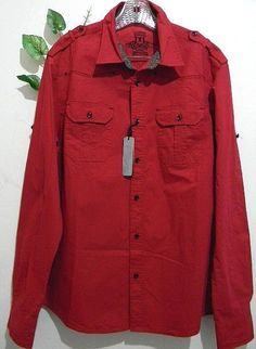 Xios Mens Red Blouse Cotton Size XL  NEW #Xios #ButtonFront