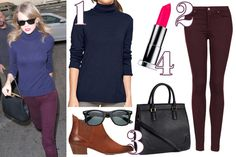 Taylor Swift Navy Turtleneck Outfit Inspiration - How To Dress Like Taylor Swift - Seventeen