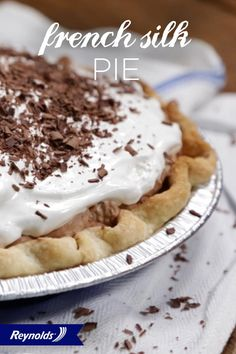 A delicious mix of smooth, creamy chocolate filling and a crunchy, firm crust, our French Silk Pie is what dreams are made of! Bake in an attractive, non-stick Reynolds® Bakeware pie pan for a great-looking dessert and deliciously easy serving. Garnish with chocolate shavings and voila! Your treat is ready to enjoy.