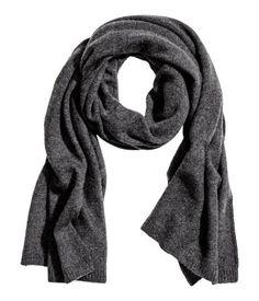 Dark gray melange. PREMIUM QUALITY. Knit scarf in soft cashmere. Size 23 1/2 x 70 3/4 in.