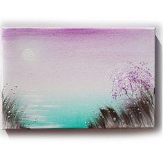 "Mauve sunrise over the lake Painting Original small Art 1 KSAVERA 8""x12"" Sunrise Sunset Sakura painting on canvas birthday for mom her by KsaveraART #TrendingEtsy"