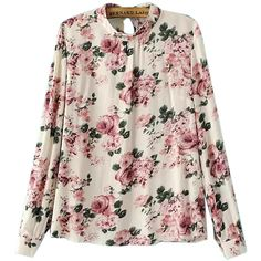 Choies High Neck Long Sleeve Shirt in Floral Print (2410 RSD) ❤ liked on Polyvore featuring tops, choies, multi, flower print shirt, longsleeve shirt, pink floral shirt, high neck top and floral shirt
