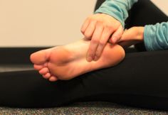 Plantar fascia massage: Using the thumb apply small circular frictions to any tight knots or lumps in the plantar fascia. Pressure should be deep but not so much that the foot tightens up with pain.