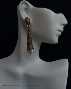 Makiyah Earrings Renaissance Bridal Medieval Queen Gold filigree and Pearl earring design