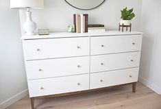Modern White Dresser: A West Elm Inspired Ikea Hack - Kristina Lynne Taking a simple pine dresser and turning it into a modern white piece! This is the best West Elm inspired Ikea hack out there! Ikea White Dresser, Ikea Tarva Dresser, Pine Dresser, Couch Furniture, White Furniture, Furniture Projects, Furniture Removal, Cheap Furniture, West Elm