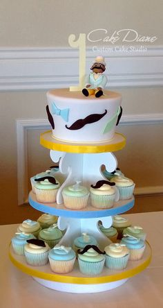 Little Man mustache theme cupcake tower