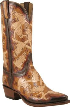 80790f7b930 Mens Lucchese Classics Brands & Skulls Wire Hand Tooled Leather Custom  Hand-Made Cowboy Boots