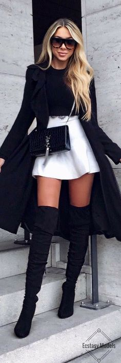 Black & white / fashion look by janine wiggert edgy fashion winter, classy edgy Classy Outfits, Stylish Outfits, Fall Outfits, Fashion Outfits, Womens Fashion, Fashion Trends, Fashion Ideas, Fashion Inspiration, Summer Outfits