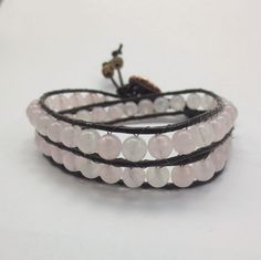 Rose Quartz Leather Wrap Bracelet, Double Wrap Bracelet, Heart Chakra Gemstones, Copper Button, Healing Crystal Jewelry, Energy