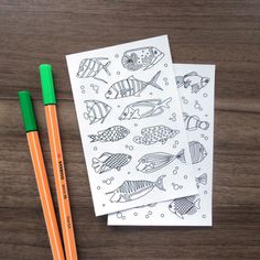 coloring stickers fish stickers planner stickers adult coloring fish coloring page stickers fish drawing stickers DIY fishing gifts by AnnaGrundulsDesign