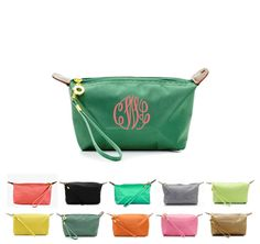 Monogrammed Longchamp Inspired Cosmetic Wristlet Buy 6 or More Save | MonogrammedMemories - Bags \u0026amp; Purses