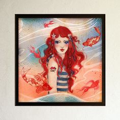 Limited Edition Print  Pirate 2/10 by MinaSmoke   #pirate #seagirl #redhair #fish