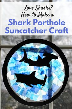 Your kids can swim with the sharks with this shark porthole sun catcher craft. Easy to make, this shark craft makes a great window decoration and fun summer craft idea. Shark Craft, Shark Week Crafts, Activities For Kids, Crafts For Kids, Cd Crafts, Bambi, Under The Sea Crafts, Ocean Crafts, Beach Crafts