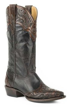 42564cbec19b stetson-ladies-brown-hand-tooled-wing-tip-boots- · Cowboy StiefelSchuh  Stiefel