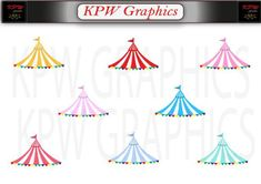Circus Carnival Tent Canopy Set 4 (various colours) in PNG format. Personal & Small Commercial use