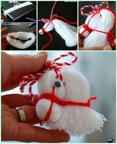 DIY-Pferdekopf-Verzierung vom Thread - My most creative diy and craft list Christmas Ornament Crafts, Holiday Crafts, Christmas Crafts, Merry Christmas, Christmas Decorations, Kids Crafts, Diy And Crafts, Pom Pom Crafts, Yarn Crafts