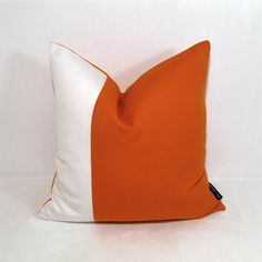 Orange Pillow Cover - Outdoor Cushion - Color Block - Modern Pumpkin White - 16 inch. $49.00, via Etsy.