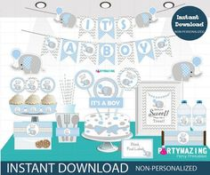 Editable Printable Elephant Baby Shower Set Blue Boy Baby Shower Text Full Party Set Party Pack XWZ by Partymazing Shower Set, Shower Party, Baby Shower Parties, Baby Party, Shower Ideas, Shower Cake, Baby Shower Azul, Baby Boy Shower, Baby Showers Modernos