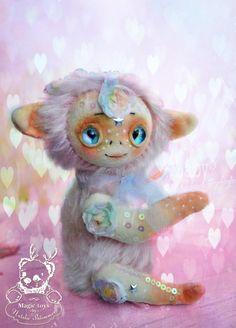 OOAK teddy flower pink elf magic artist toy от ShtimaCreatures
