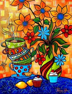 Tea And Cakes Painting by Peggy Bowie Davis - Tea And Cakes Fine Art Prints and Posters for Sale Happy Paintings, Colorful Paintings, Mexican Paintings, Naive Art, Mexican Art, Whimsical Art, Oeuvre D'art, Doodle Art, Flower Art