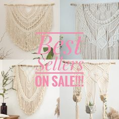 Our best selling wall hangings are all on sale for the first time ever!!   Thank you so much for all your support during the craziest last few months, your kind and support keeps our macrame business going so we could support our family, thank you so much Large Macrame Wall Hanging, Macrame Plant Hangers, Tapestry Weaving, Headboards For Beds, Beautiful Wall, Cute Stickers, Wall Hangings, Boho Decor, Backdrops